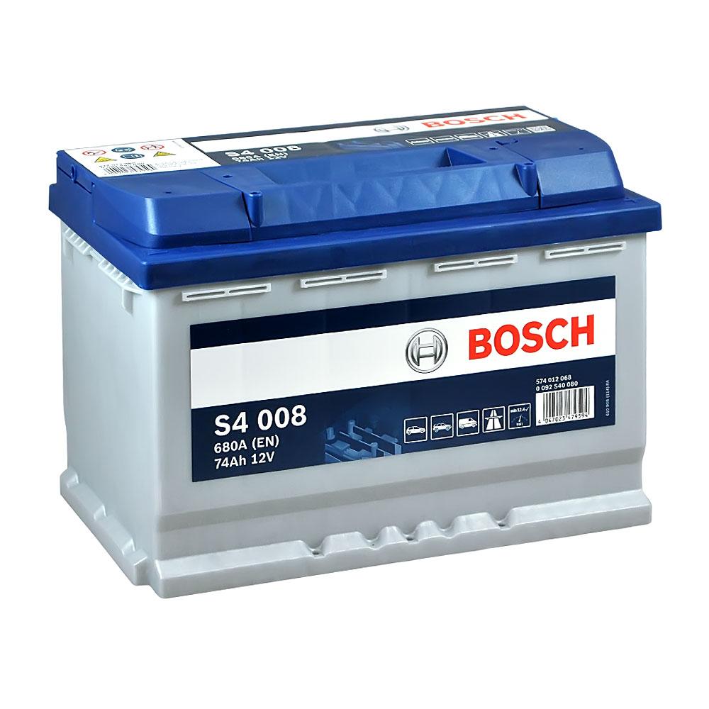 Автомобильный аккумулятор BOSCH (S40 080) 74Ah 680A R+