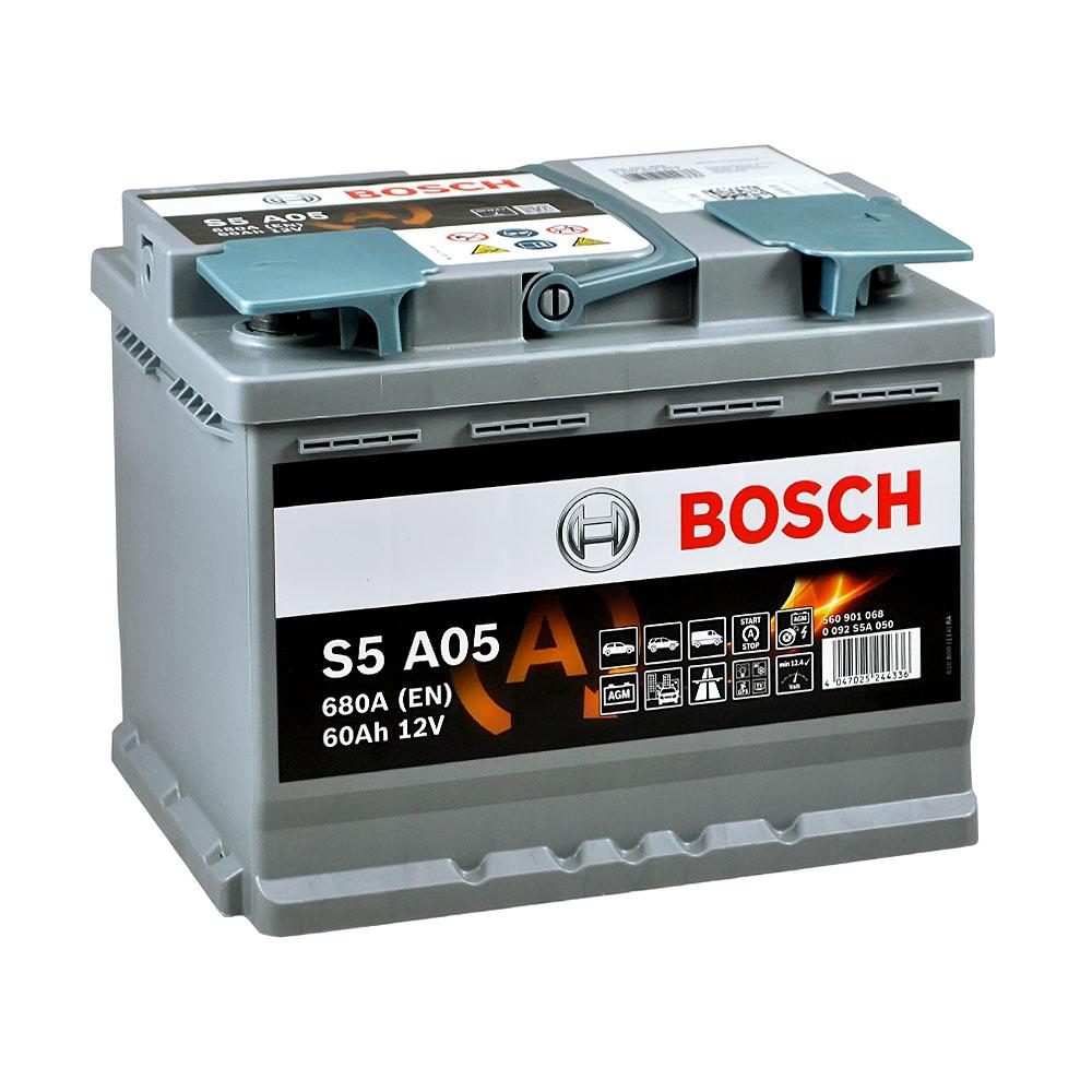 Автомобильный аккумулятор BOSCH AGM (S5A 050) 60Ah 680A R+