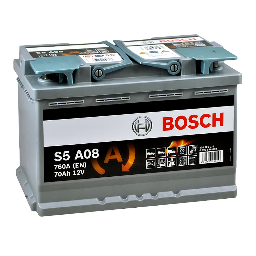 Автомобильный аккумулятор BOSCH AGM (S5A 080) 70Ah 760A R+