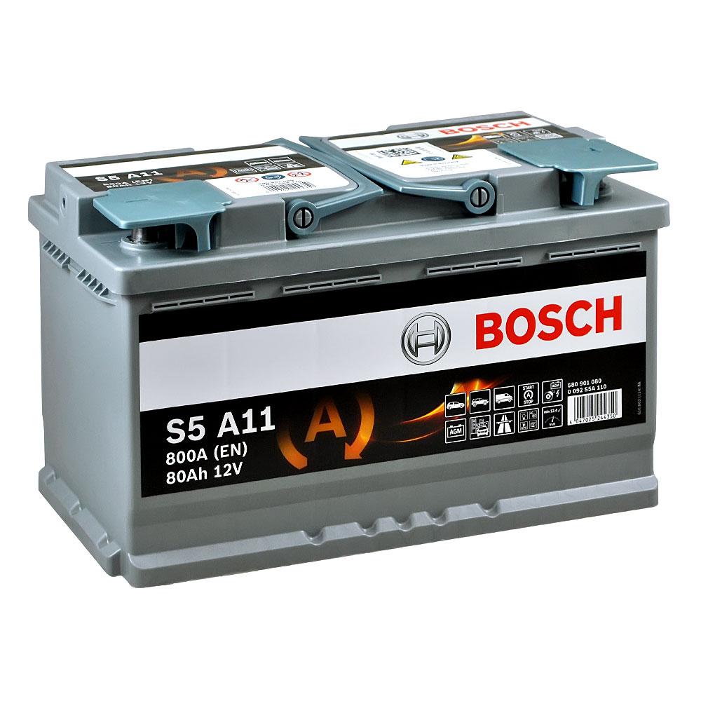 Автомобильный аккумулятор BOSCH AGM (S5A 110) 80Ah 800A R+
