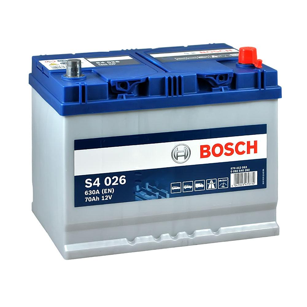 Автомобильный аккумулятор BOSCH (S40 260) Asia 70Ah 630A R+