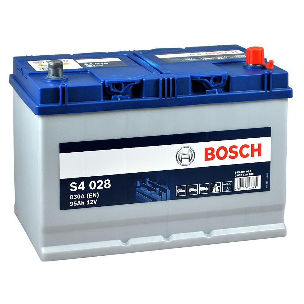 Автомобильный аккумулятор BOSCH (S40 280) Asia 95Ah 830A R+