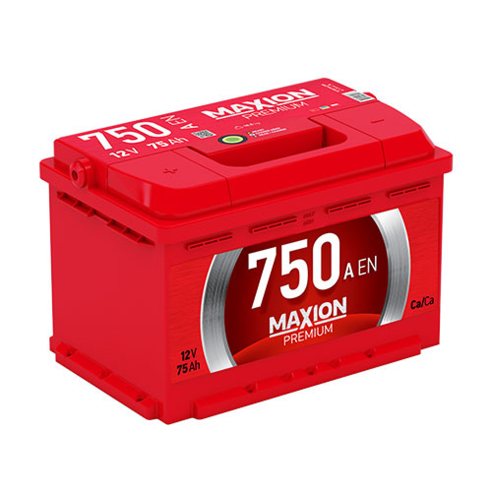 Автомобильный аккумулятор MAXION Premium 75Аh 750A R+