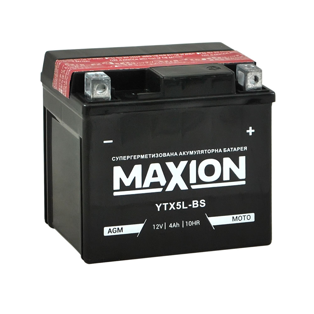 Мото аккумулятор Maxion 12V 4A YTX 5L-BS