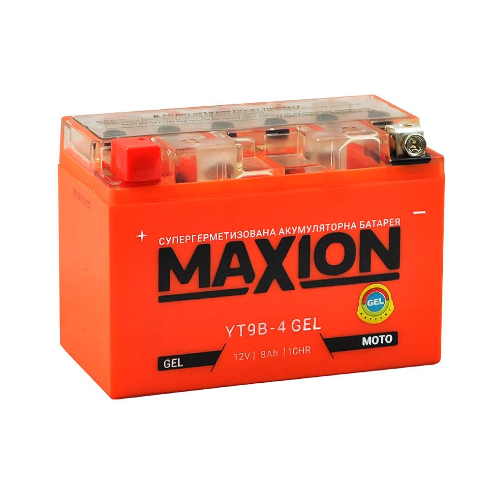 Мото аккумулятор MAXION Gel YT 9B-4 (12V, 8A)