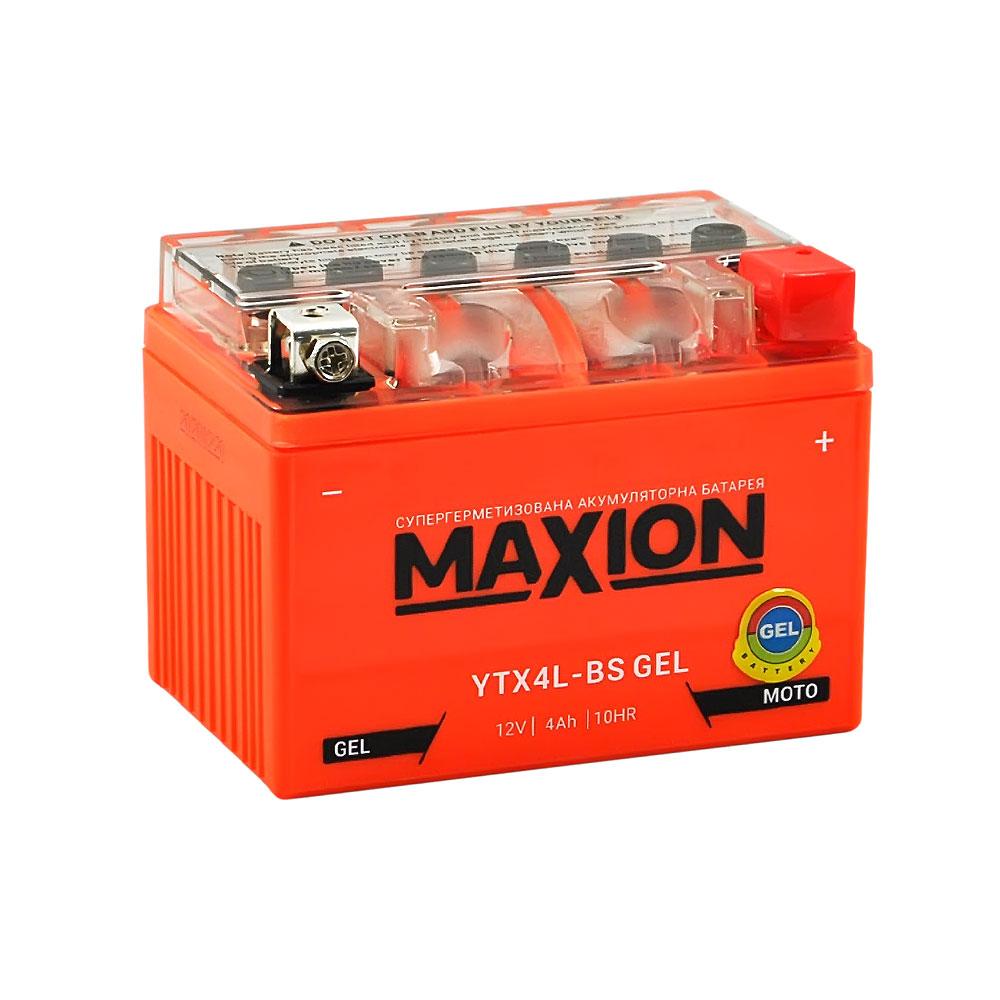 Мото аккумулятор MAXION Gel YTX 4L-BS (12V, 4A)
