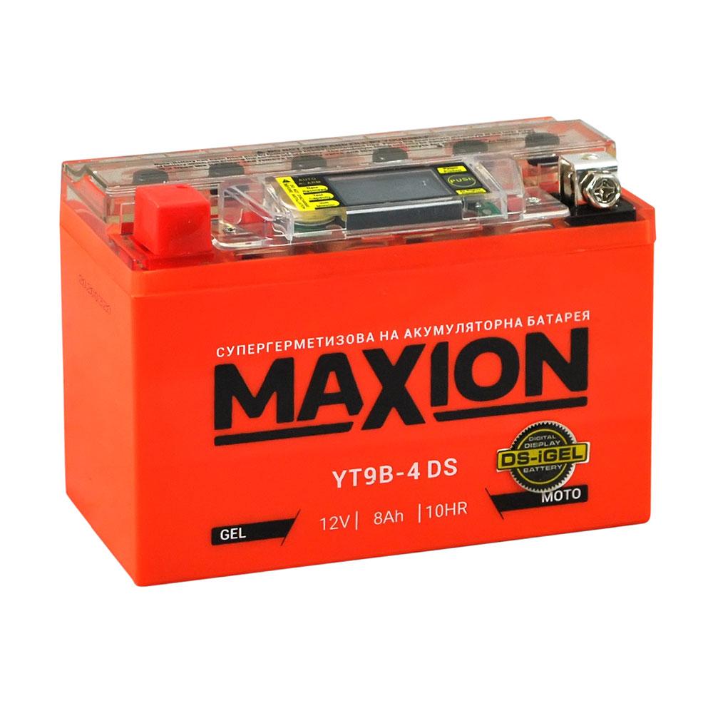 Мото аккумулятор MAXION YT 9B-4 DS (DS-iGEL) (12V, 8A)