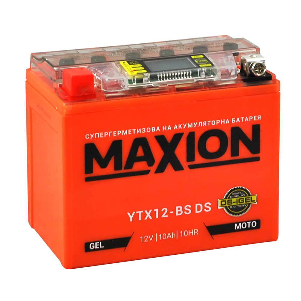 Мото аккумулятор MAXION YTX 12-BS DS (DS-iGEL) (12V, 10A)