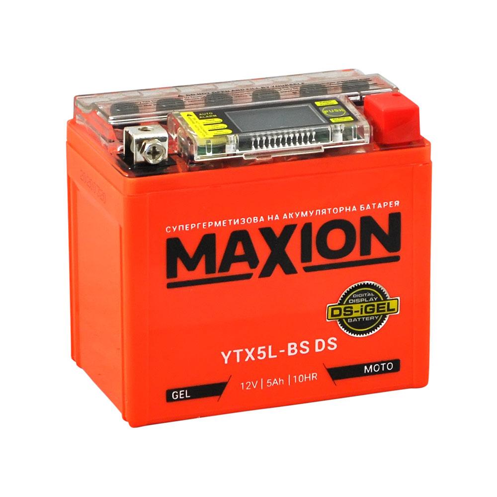 Мото аккумулятор MAXION YTX 5L-BS DS (DS-iGEL) (12V, 5A)