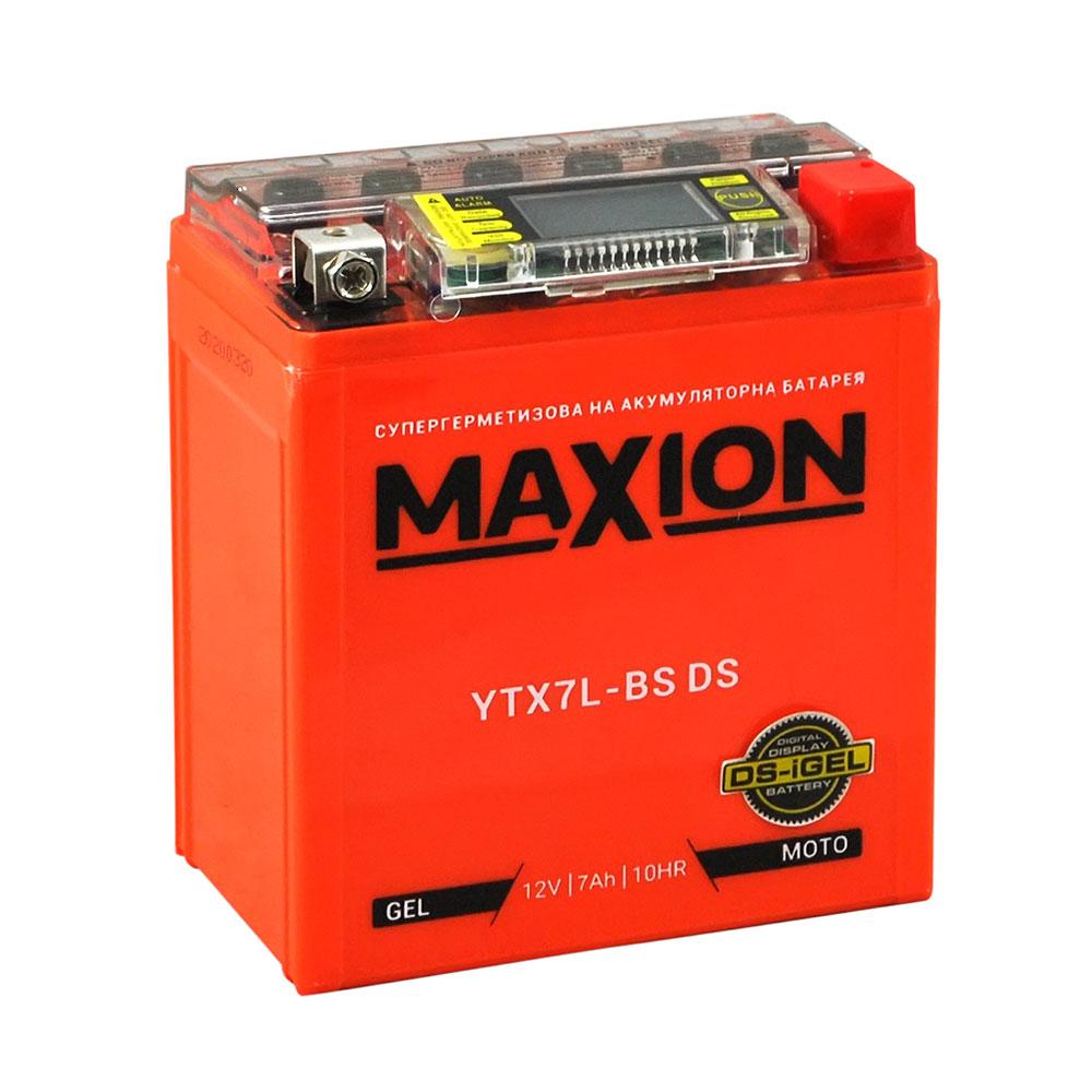 Мото аккумулятор MAXION YTX 7L-BS DS (DS-iGEL) (12V, 7A)