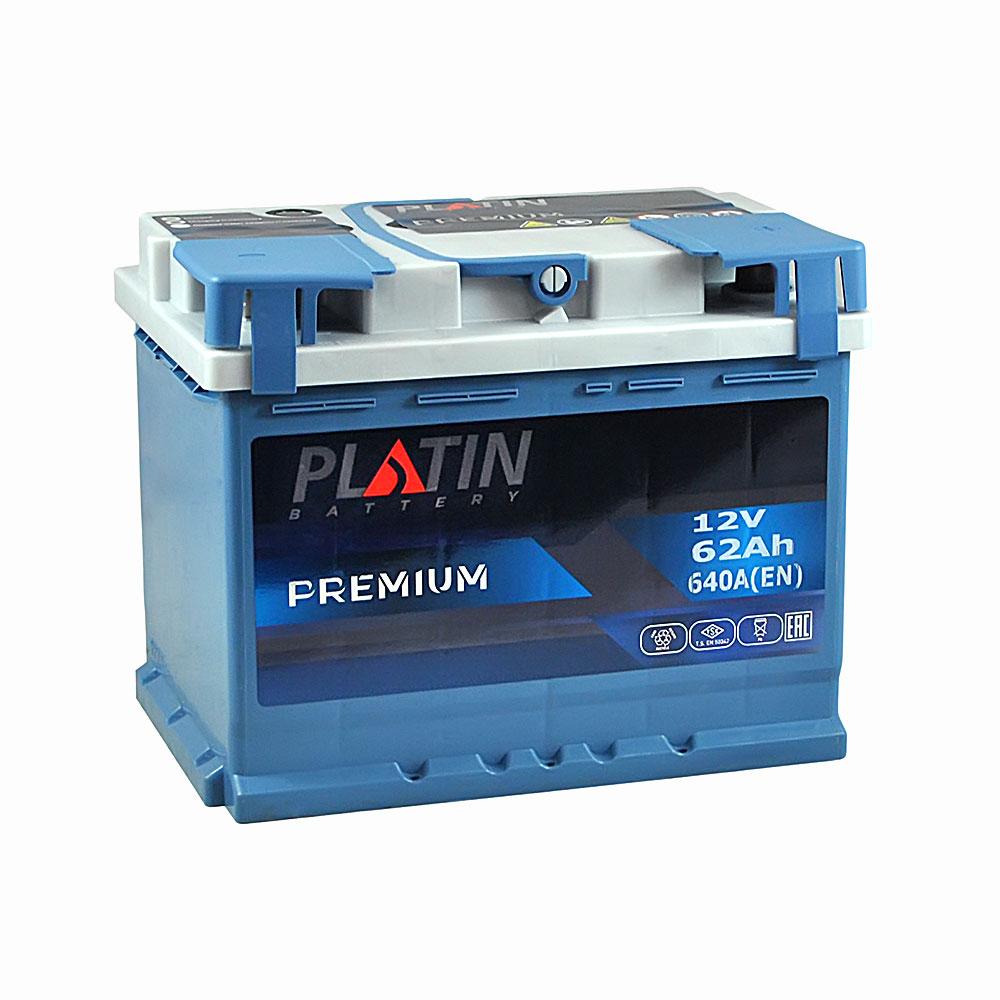 Автомобильный аккумулятор PLATIN Premium MF 62Ah 640A R+