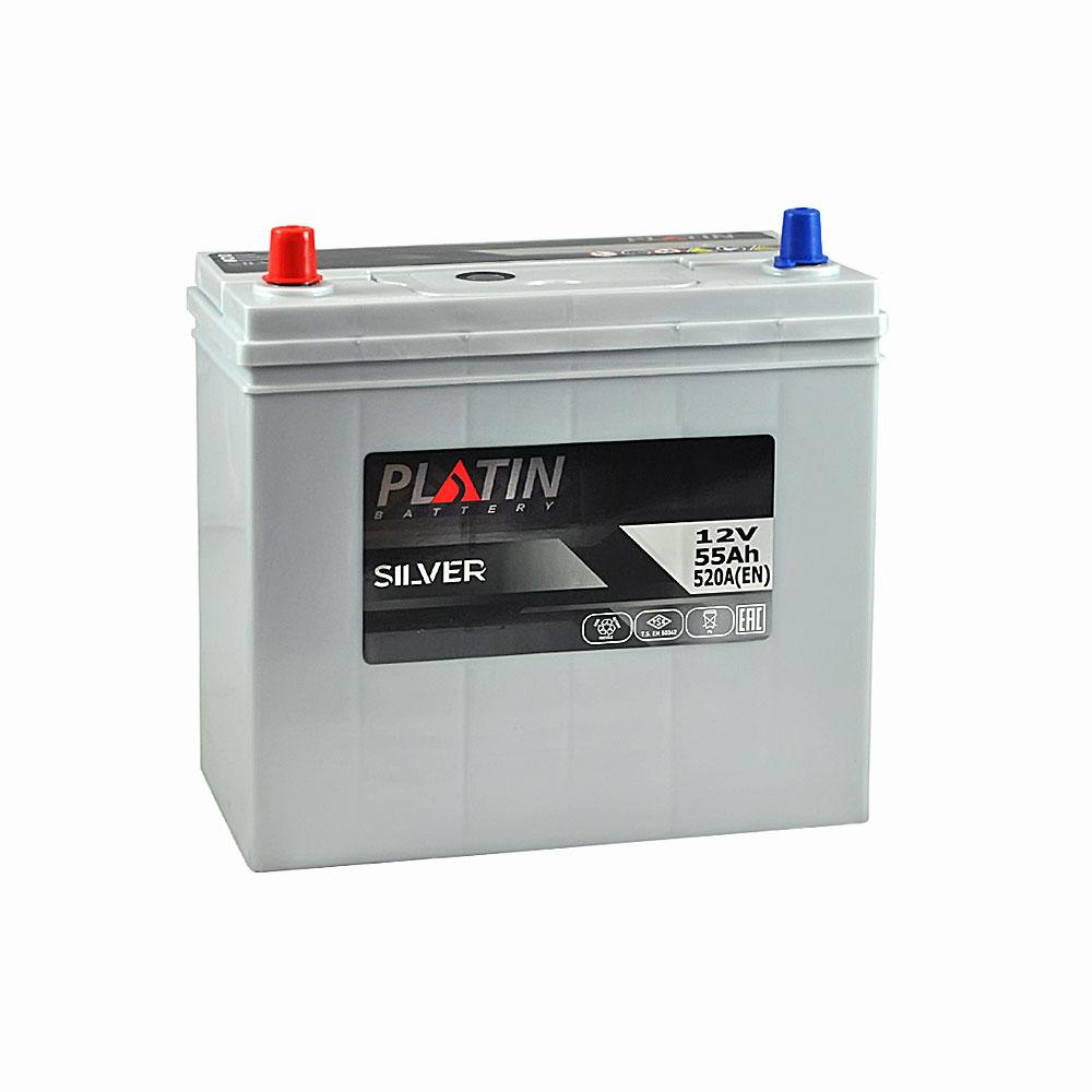 Автомобильный аккумулятор PLATIN Silver Asia SMF 55Ah 520A L+