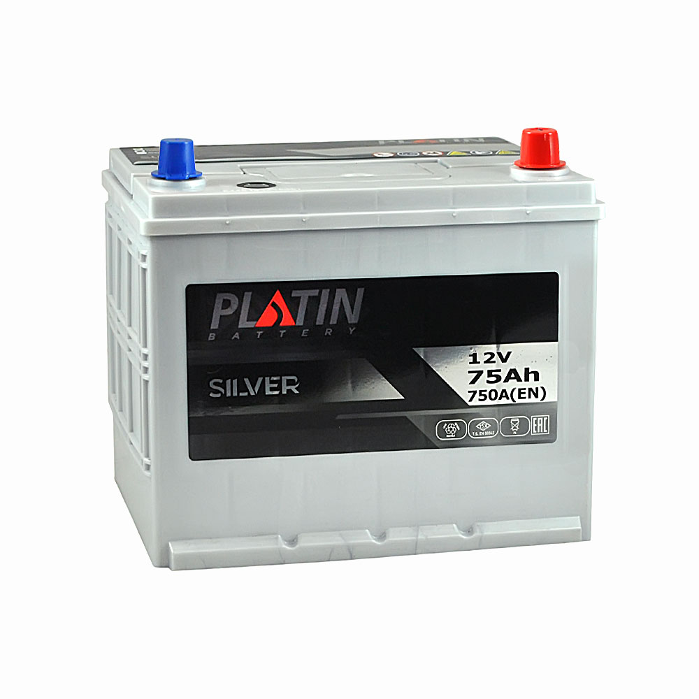 Автомобильный аккумулятор PLATIN Silver Asia SMF 75Ah 750A R+