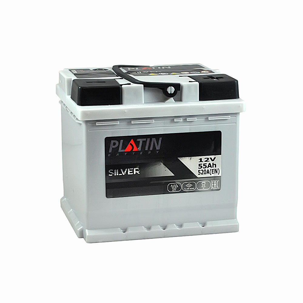 Автомобильный аккумулятор PLATIN Silver MF 55Ah 520A R+