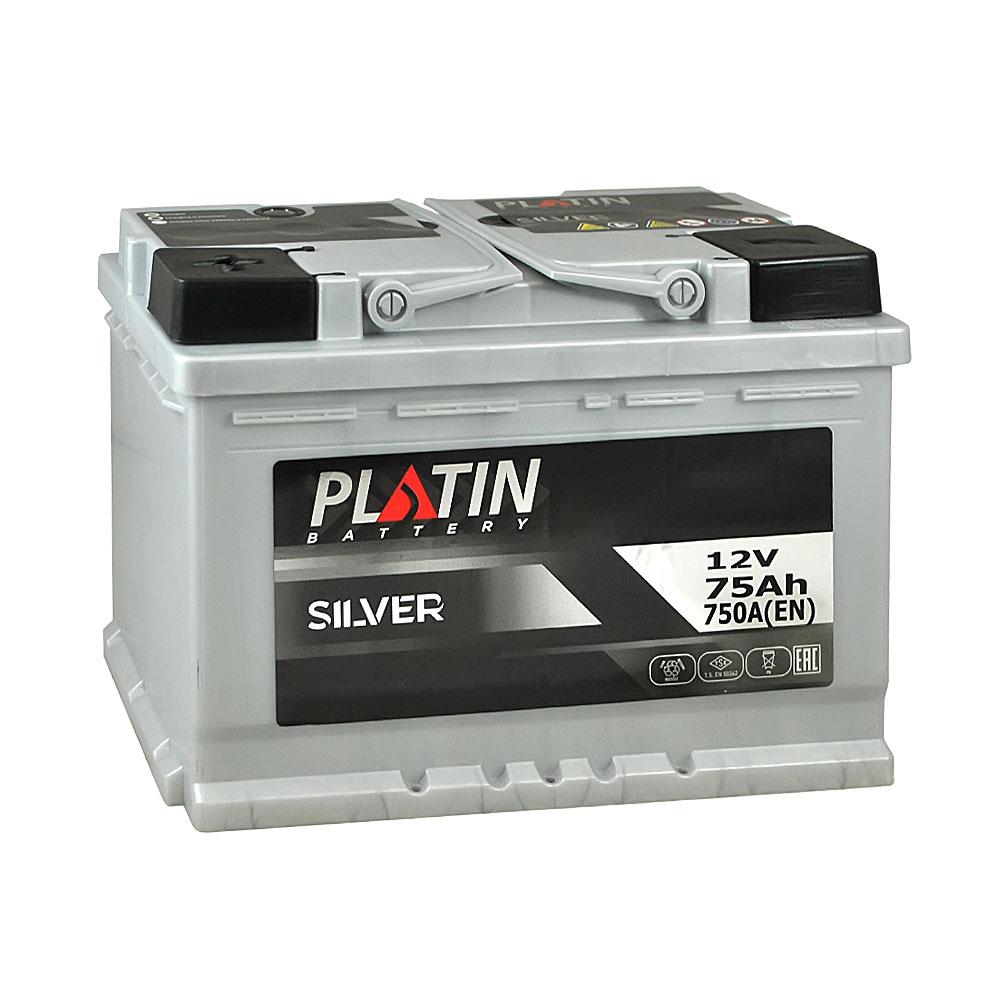 Автомобильный аккумулятор PLATIN Silver MF 75Ah 750A L+