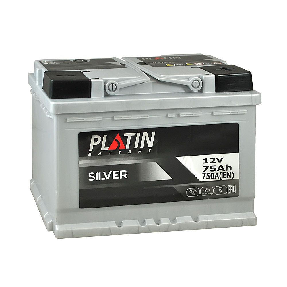 Автомобильный аккумулятор PLATIN Silver MF 75Ah 750A R+