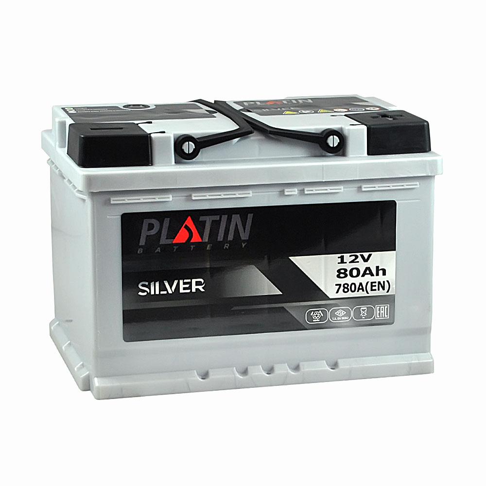 Автомобильный аккумулятор PLATIN Silver MF 80Ah 780A R+