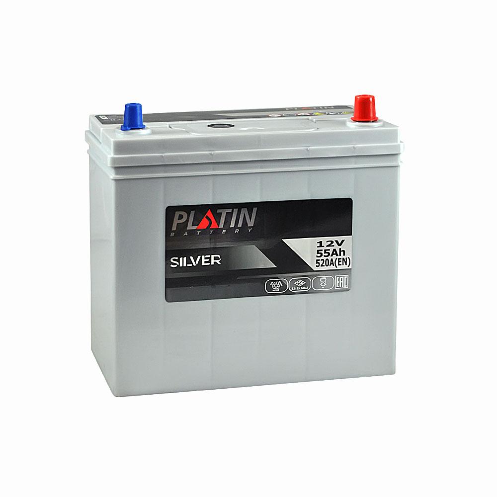 Автомобильный аккумулятор PLATIN Silver Asia SMF 55Ah 520A R+