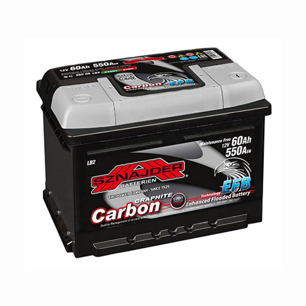 Автомобильный аккумулятор SZNAJDER Carbon Start Stop EFB (560 08) 60Аh 550А R+