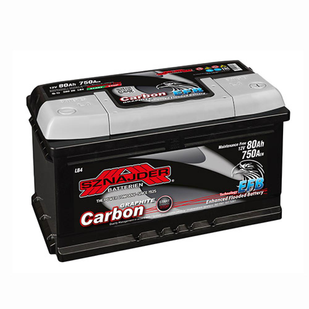 Автомобильный аккумулятор SZNAJDER Carbon Start Stop EFB (580 08) 80Аh 750А R+