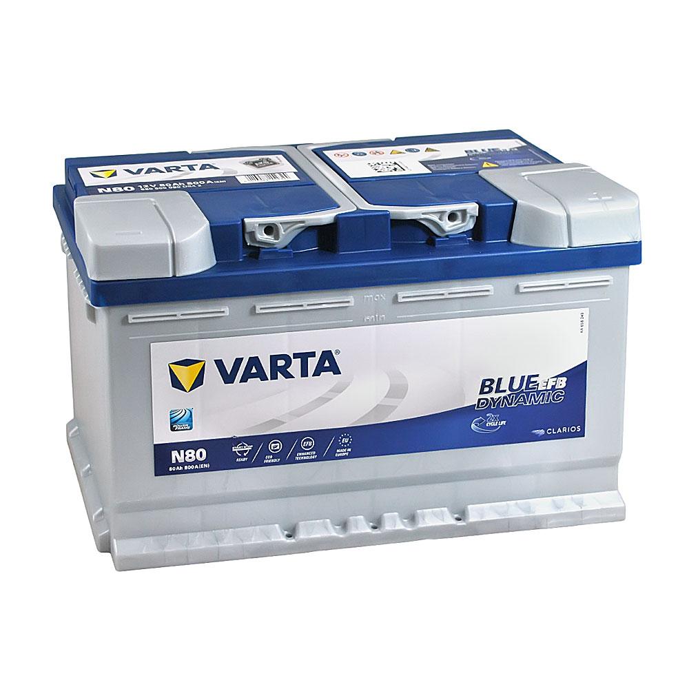 Автомобильный аккумулятор VARTA Blue Dynamic EFB (N80) 80Ah 800A R+