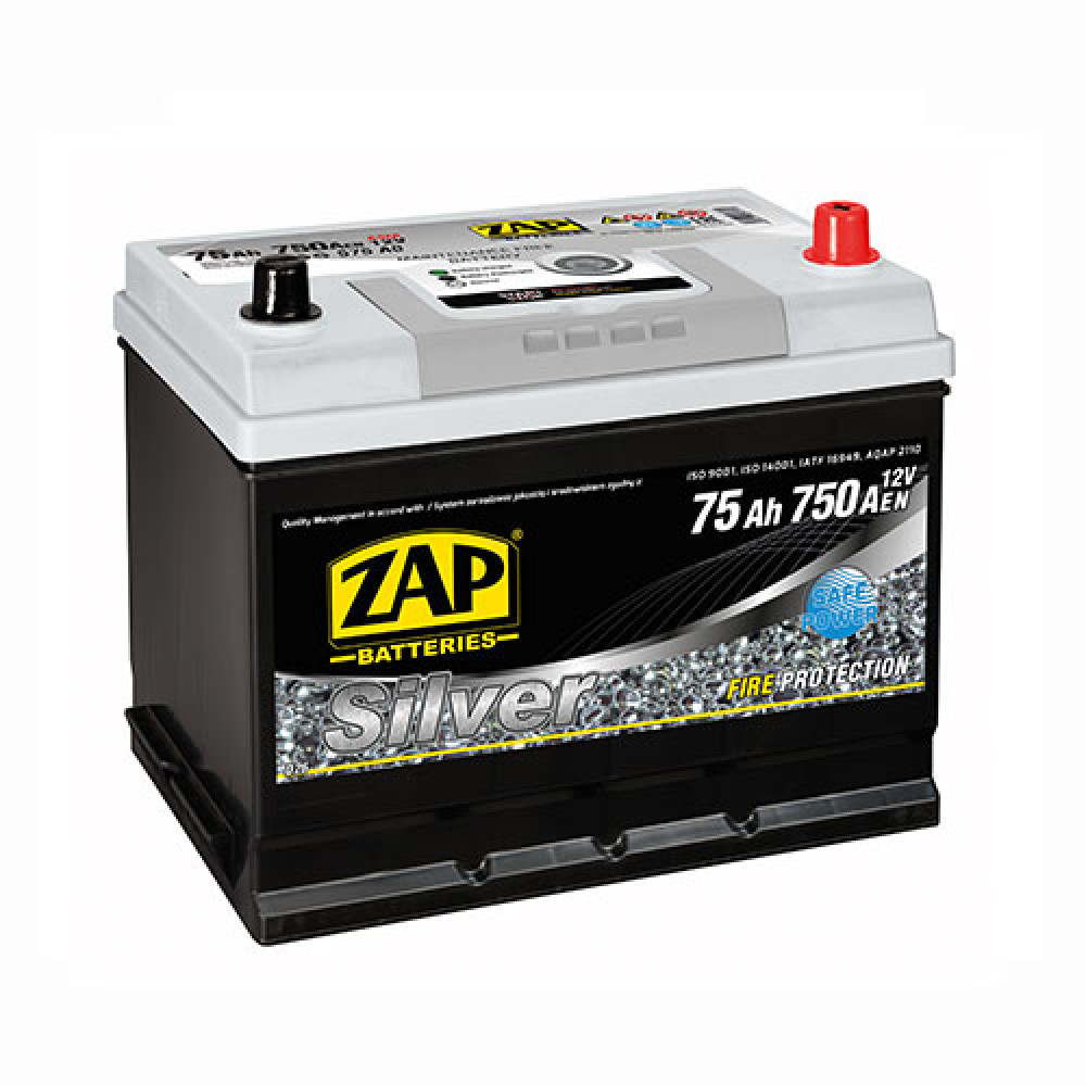 Автомобильный аккумулятор ZAP Silver Calcium Asia (575 A0) 75Аh 750А R+