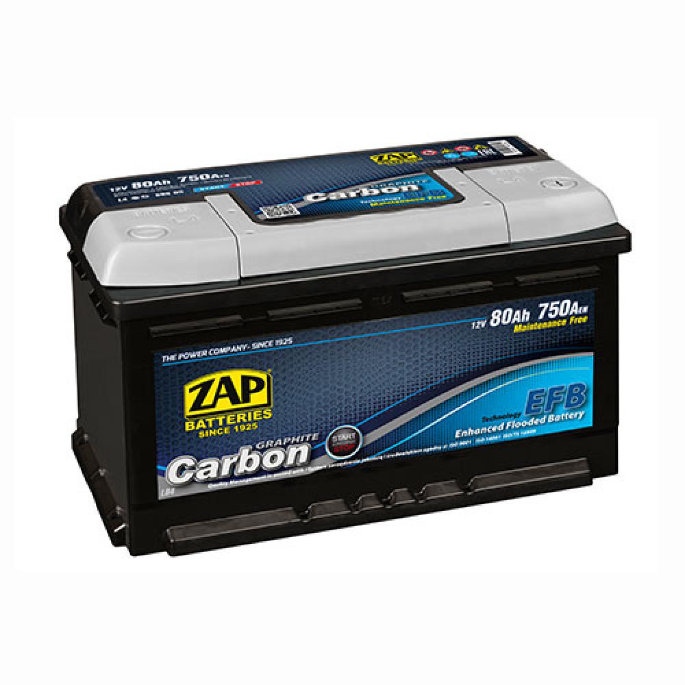 Автомобильный аккумулятор ZAP Carbon Start Stop 80Аh 750А R+
